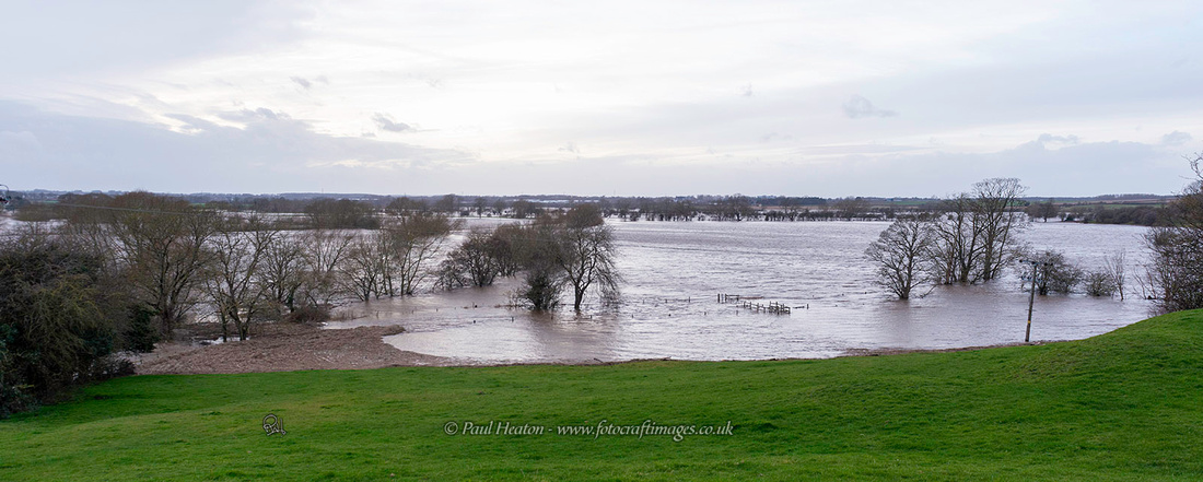 Flooded fields between Boston Spa and Tadcaster in West Yorkshire
