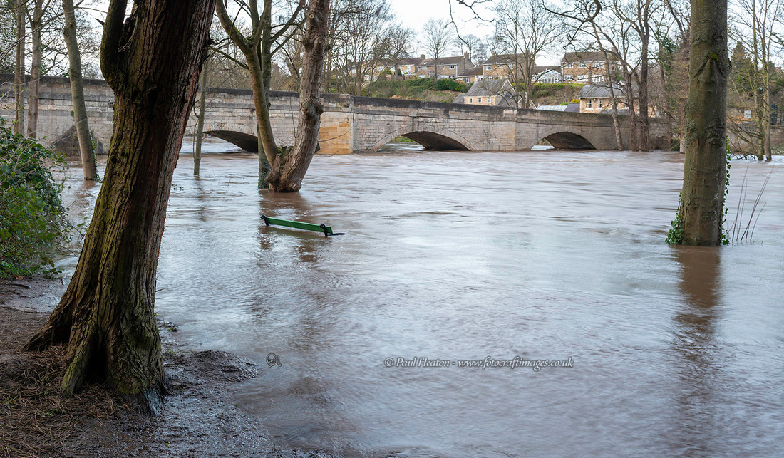 High water levels at Thorp Arch bridge