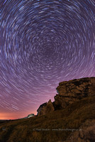 Star trails over Almscliffe Crag